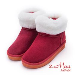 2.Maa-個性撞色牛麂皮反折暖暖雲朵雪靴-紅