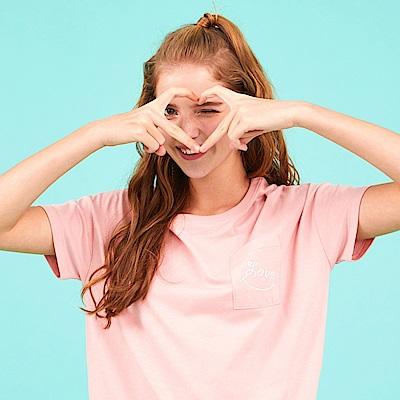 CACO-繡字口袋寬鬆短T(兩色)-女【PCA003】