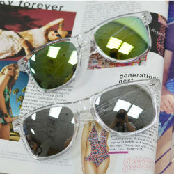 梨花HaNA 夏日潮感透明框鉚釘反光太陽眼鏡-銀色水銀片