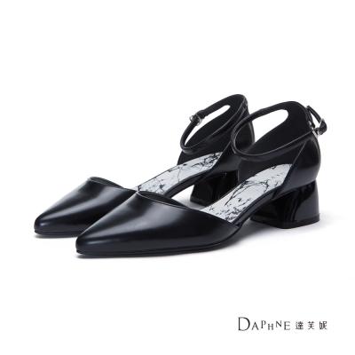 達芙妮DAPHNE-高跟鞋-大理石紋中空繫踝粗跟尖頭鞋-黑