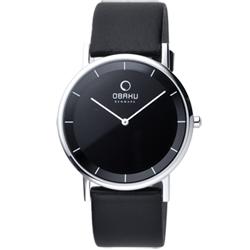 OBAKU 纖薄哲學二針時尚腕錶-銀框黑/皮帶/38mm