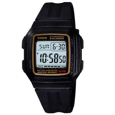 CASIO 超強進化10年電力數位方塊錶(F-201WA-9A)-黑x黃框/34mm