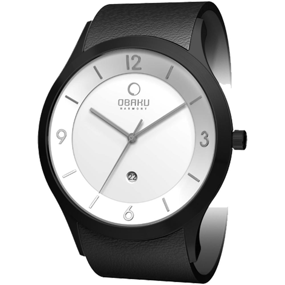 OBAKU 上品紳士極簡時尚腕錶-白xIP黑/45mm