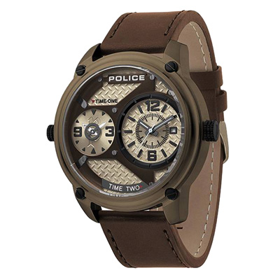 POLICE  時空戰區時尚雙時區腕錶-15268JSK-53-50mm