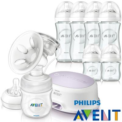 PHILIPS AVENT輕乳感PP標準型單邊電動吸乳器+親乳感玻璃防脹氣奶瓶(120ml