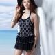 泳裝 連身式 黑白幾何圖騰連身裙式女泳裝 聖手牌 product thumbnail 1