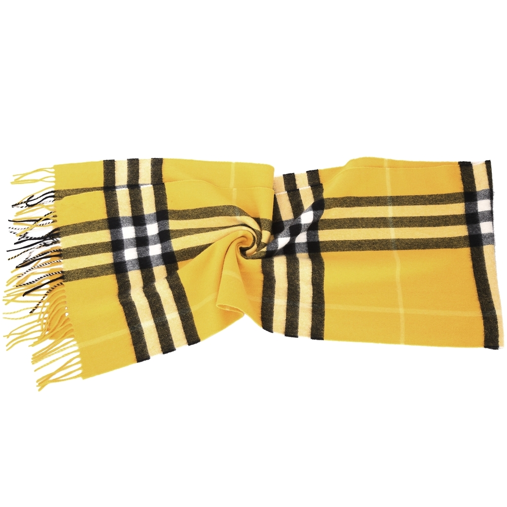 BURBERRY 100%喀什米爾金雀花黃經典格紋圍巾