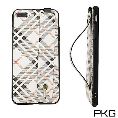 PKG Apple IPHONE 7/8 PLUS 保護套(時尚格紋伸縮挽帶)