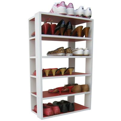 Dr. DIY-六層開放式鞋架-置物架(紅色+白色)