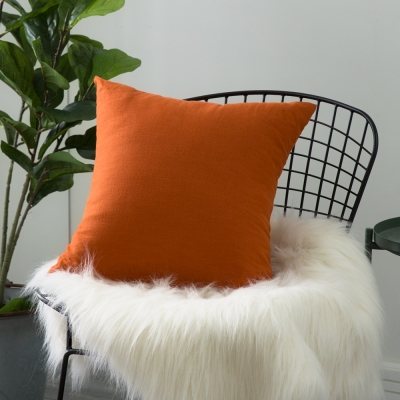 IN HOUSE-棉麻抱枕-橘(50x50cm)