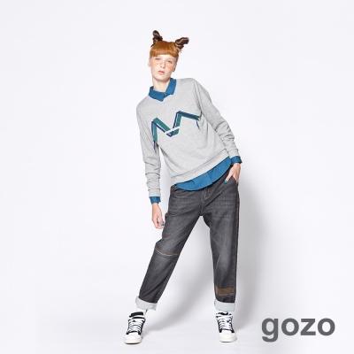 gozo 個性緞帶logo造型長袖棉T (二色)-動態show