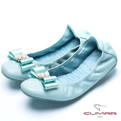 CUMAR流行時尚 珍珠蝴蝶結真皮芭蕾舞鞋-水藍