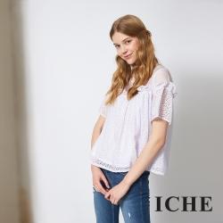 ICHE 衣哲 氣質荷葉蕾絲雕花拼接造型上衣