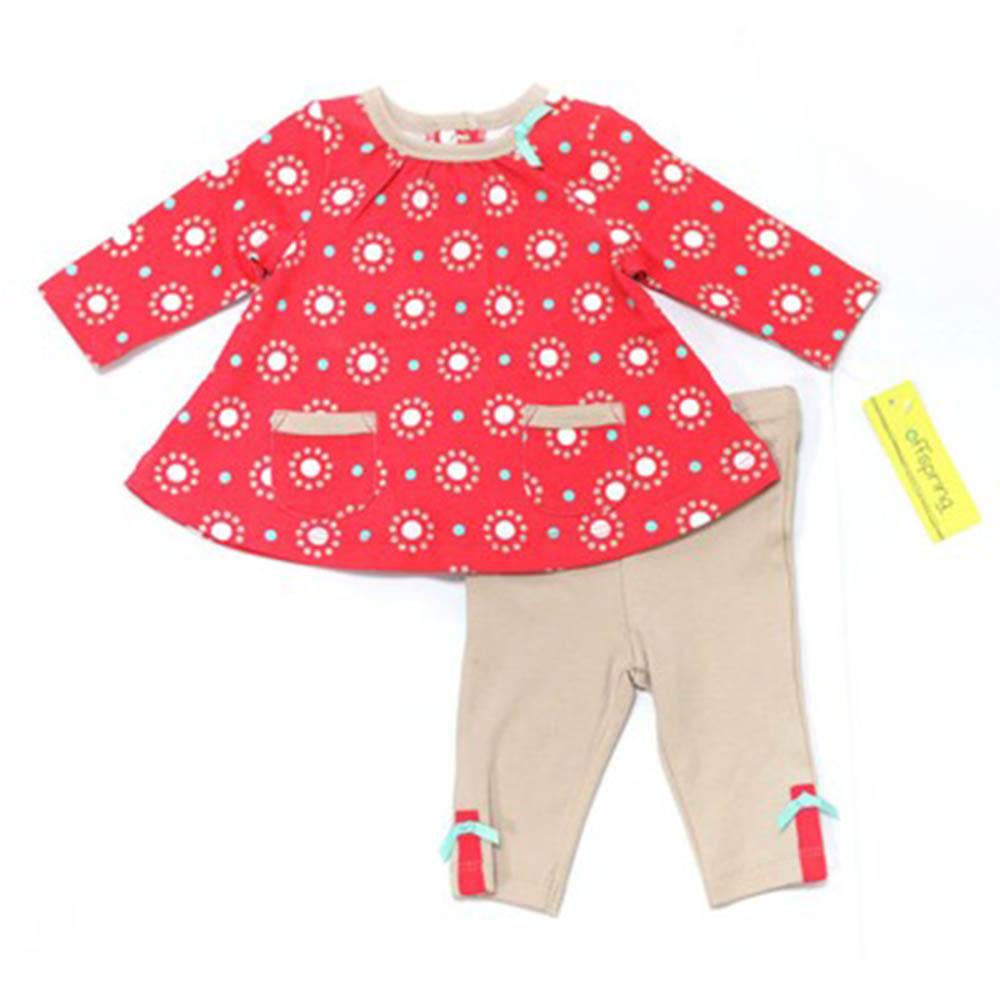 offspring MLU00301N紅點點長袖套裝(3-12m)