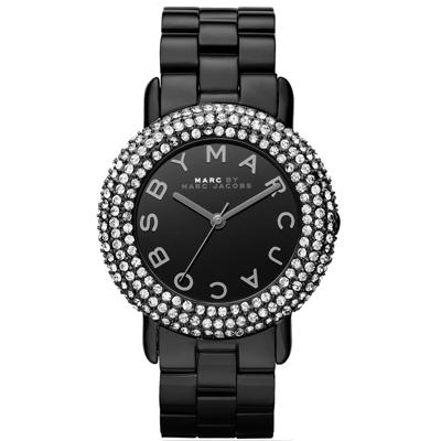 MARC By Marc Jacobs 璀璨奢華晶鑽時尚腕錶-黑/37mm