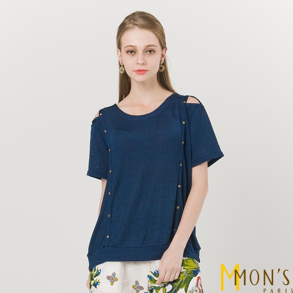 MONS鉚釘露肩針織上衣共二色-藍色