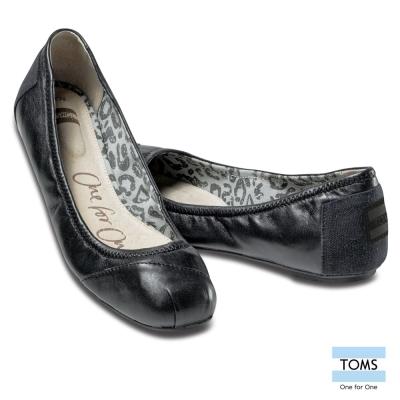 TOMS 真皮芭蕾娃娃鞋-女款(黑)