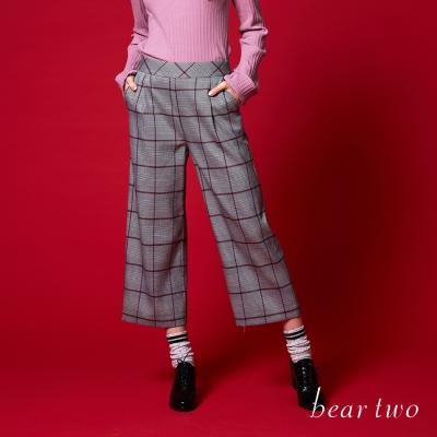 beartwo 學院風威爾斯王子格紋寬褲(二色)-動態show