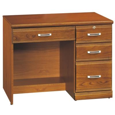 時尚屋 雅安樟木實木3.2尺4抽書桌 寬97cm