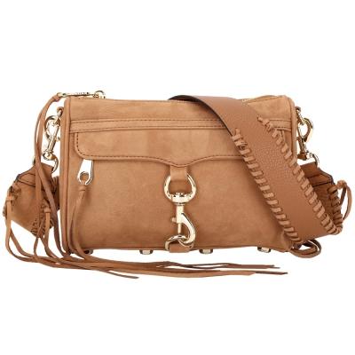 Rebecca Minkoff MINI MAC 麂皮編織寬背帶手拿兩用包(棕色)