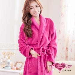 睡袍 法式甜心柔情 珊瑚絨睡袍(紫紅F) AngelHoney天使霓裳