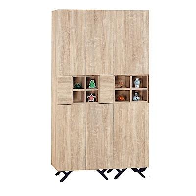 品家居 路易多3.3尺橡木紋八門書櫃-100x32x180cm免組
