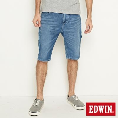 EDWIN 加大碼迦績褲JERSEYS角袋工作短褲-男-石洗藍