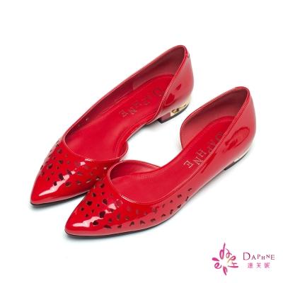 達芙妮DAPHNE 春日漾漾鏡面縷空立體飾條側挖空平底鞋-眩目紅
