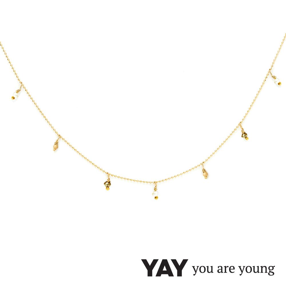 YAY You Are Young 法國品牌 Frida 寶石花束項鍊 白珍珠X星辰豆豆