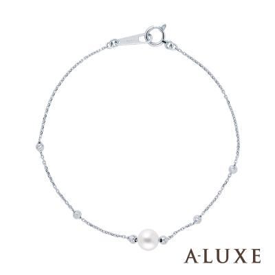 A-LUXE 亞立詩 Shine 經典百搭 甜蜜珠語6.5mm淡水珍珠18K金手鍊