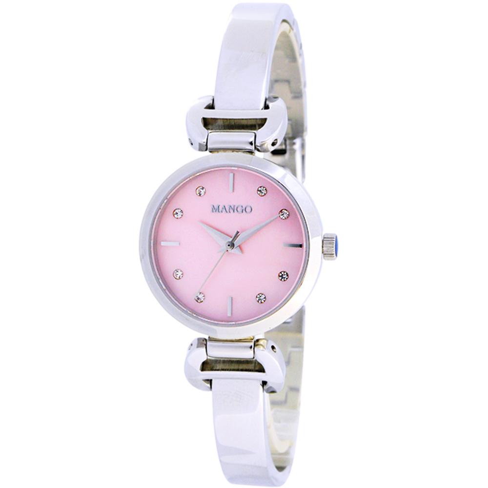 MANGO 優雅晶鑽時尚手錶-粉X銀/26mm