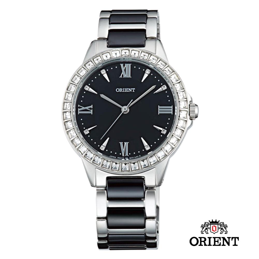 ORIENT 東方錶 DRESS系列 時尚晶鑽羅馬陶瓷女錶-黑/34mm