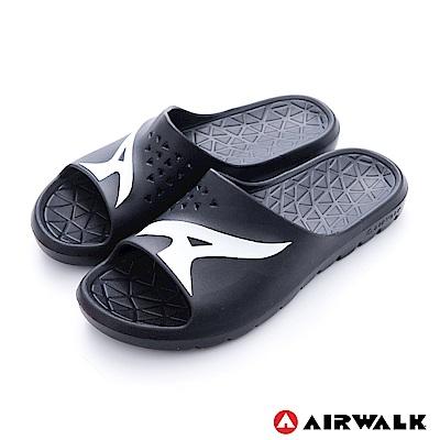 美國AIRWALK - 舒適柔軟輕盈AirJump拖鞋-黑色