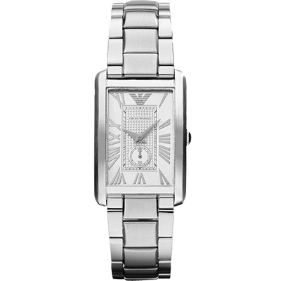 ARMANI 爵士時尚經典小秒針女錶-銀/ 25 mm