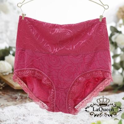 內褲  玫瑰花紋親膚蠶絲高腰內褲-紅 La Queen