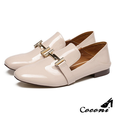 CoConi-低跟樂福鞋-金屬扣漆皮方頭-杏