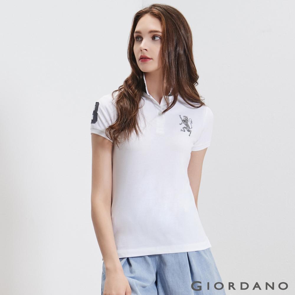GIORDANO女裝勝利獅王3D刺繡彈力萊卡POLO衫-30標誌白