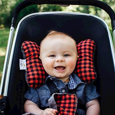 Baby Elephant Ears 紅黑格紋款推車汽座護頸蝴蝶枕