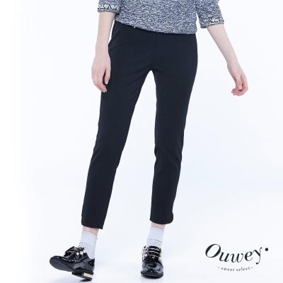 OUWEY歐薇-都會風百搭修飾九分褲-黑