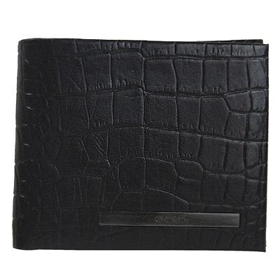 Calvin Klein黑色質感鱷魚壓紋雙鈔票夾層皮革短夾(大)