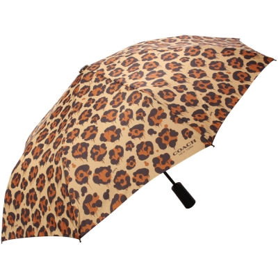 COACH-經典彩繪豹紋自動晴雨傘-咖啡-駝