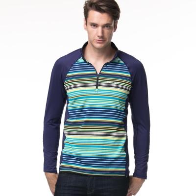 聖手牌 立領衫 漸層橫紋長袖立領衫