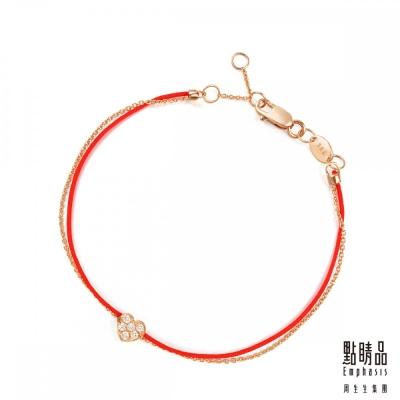 點睛品 浪漫愛心 18K玫瑰金鑽石紅繩手鍊