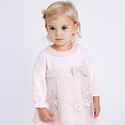 Dave Bella 淡粉拼接白色梅花刺繡紗裙長袖洋裝