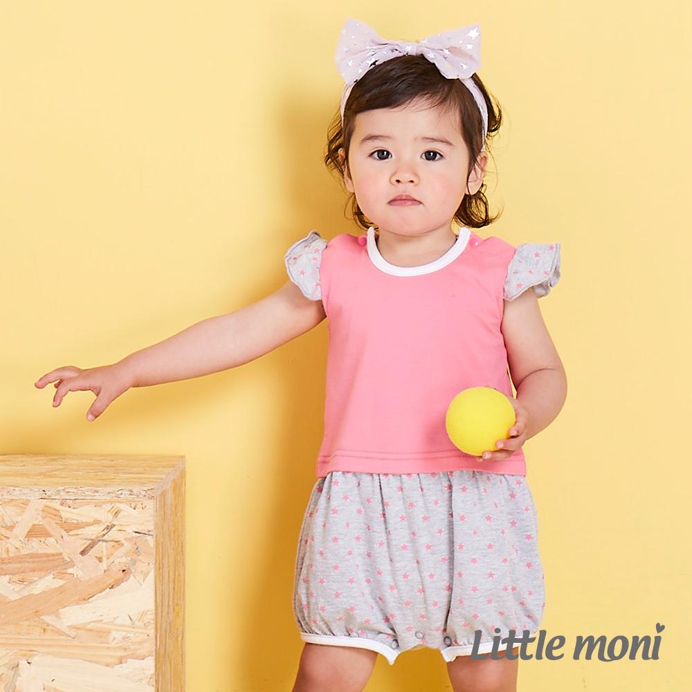 Little moni 甜美女孩拼接星星連身褲 熱情粉