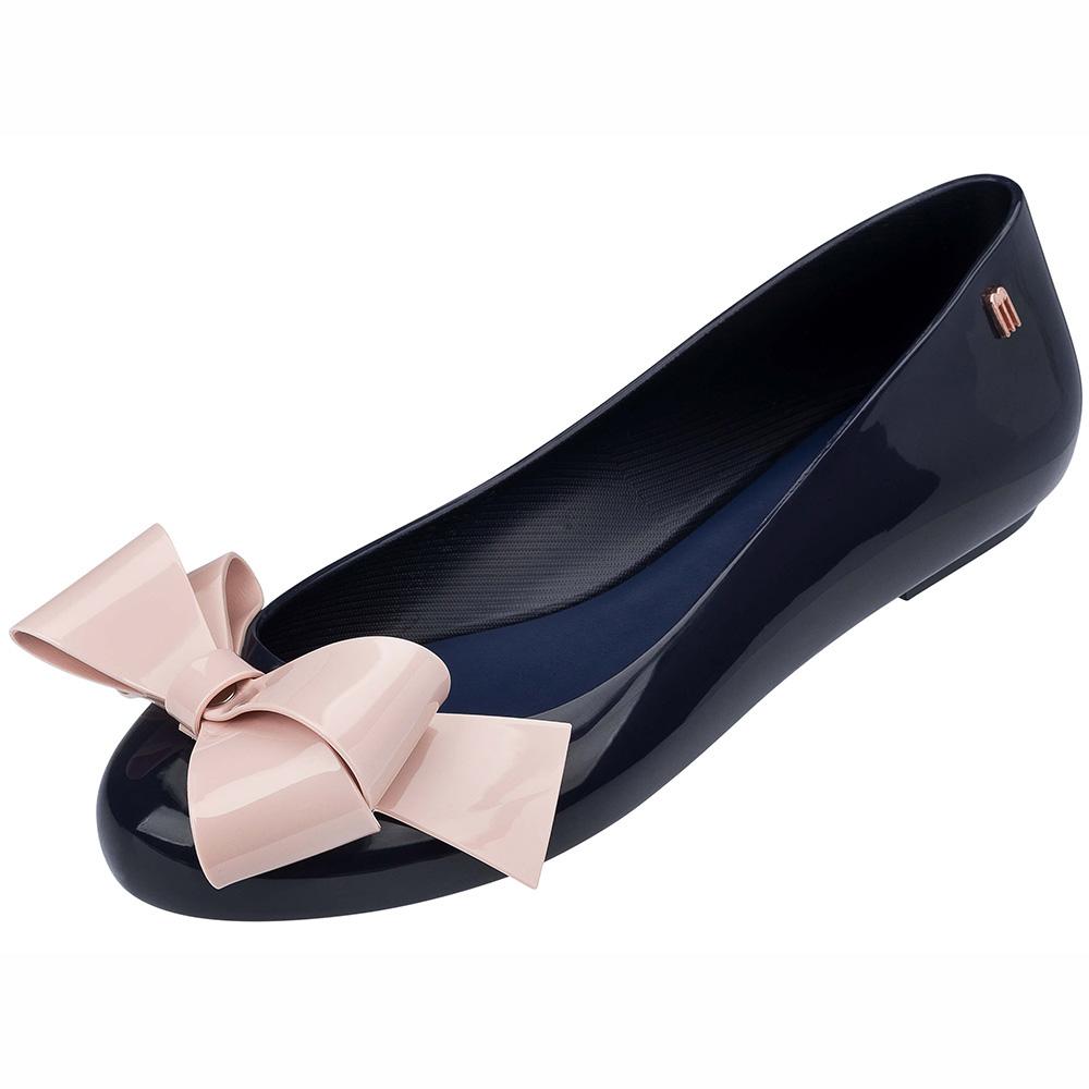 MELISSA 甜心蝴蝶結娃娃鞋-黑/粉
