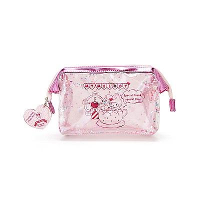 Sanrio 美樂蒂草莓遊園地系列PVC防水大開口透明化妝包