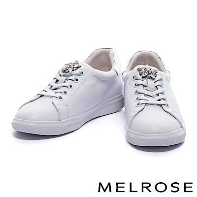 休閒鞋 MELROSE 奢華手縫鑽花蛇紋拼接牛皮綁帶厚底休閒鞋-白