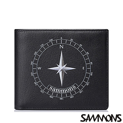 SAMMONS  真皮波特簡約對折短夾 帥氣黑