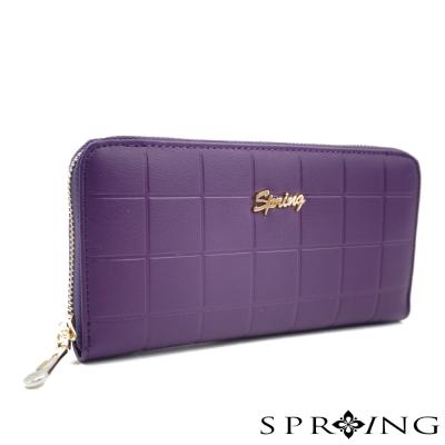 SPRING-真皮浪漫之都方格牛皮長夾-紫